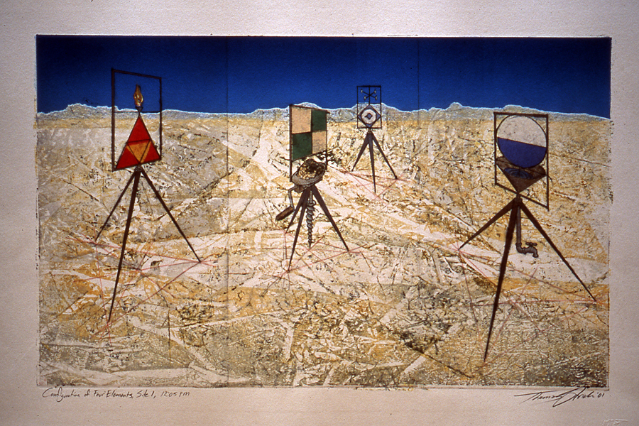 Configuration of Four Elements, Site 1, a monoprint by Thomas Strich