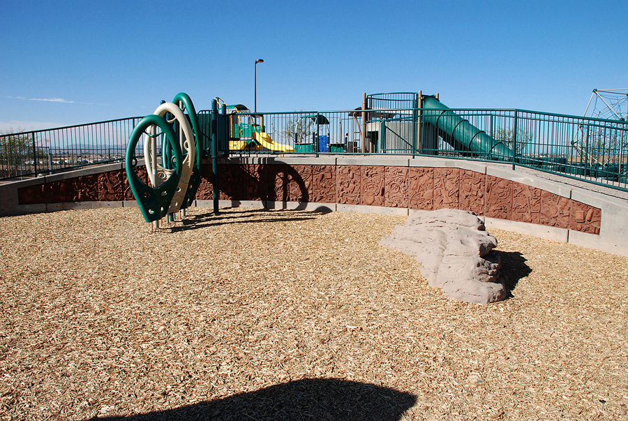 Photograph of Homage to Discarded Things installed in the play area at Paseo Vista park