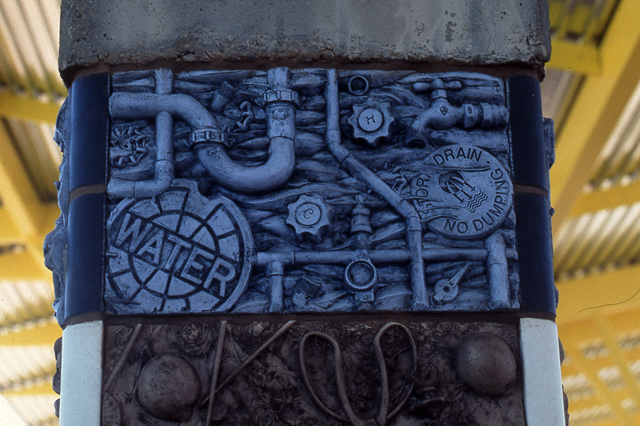 Close up view of the Water Tile from the Layers of Time public art project at Rio Salado