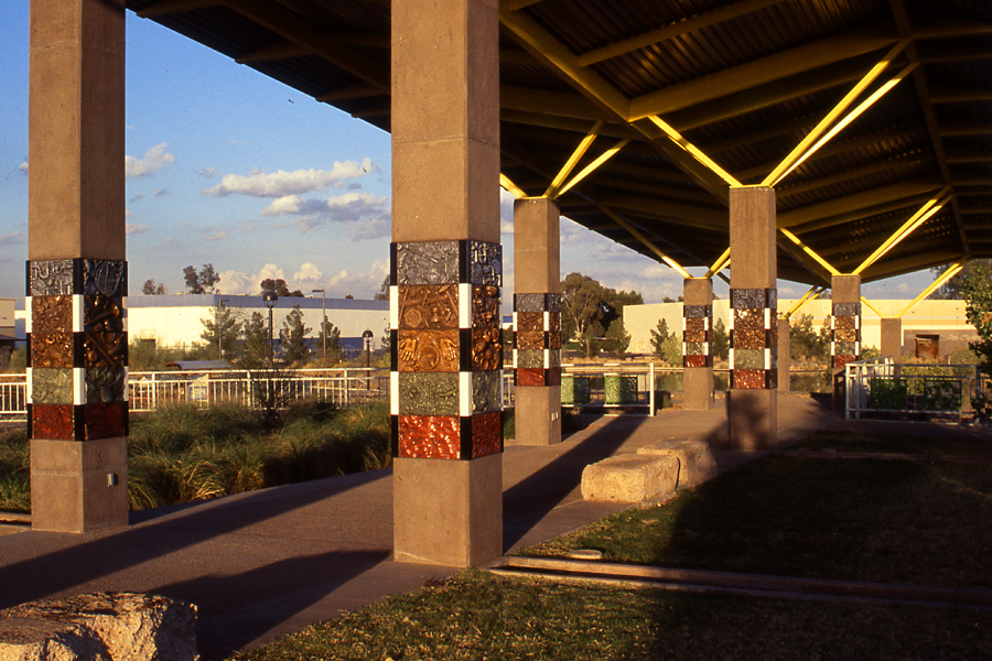 Photograph of Phoenix Rio Salado Shade structure and Layer of Time tiles