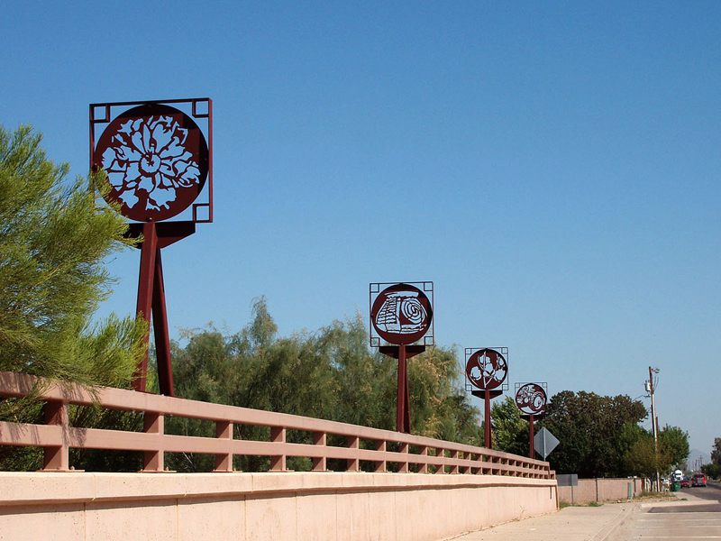 Photograph of Passing Images installed on the bridge in downtown Queen Creek, Arizona