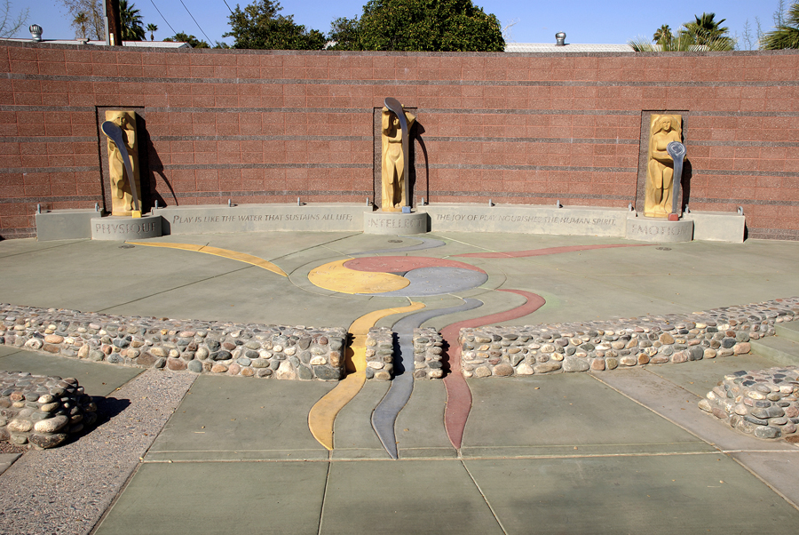 Photograph of the Sources of Play figures and stage at the North Tempe Multi-Generational Center