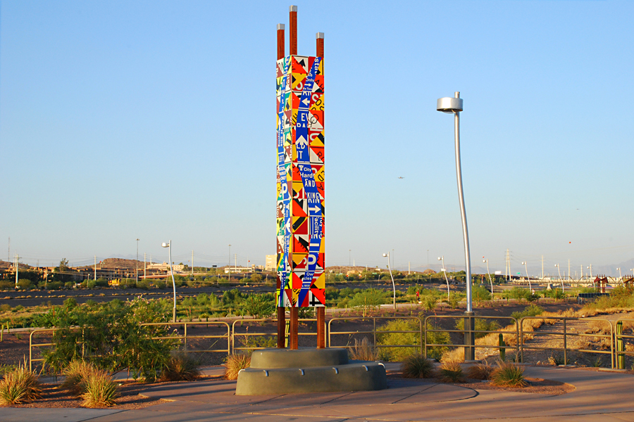 Photograph of the South Bank entrance landmark by Thomas Strich