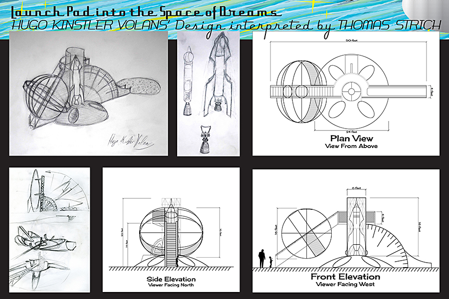 Project Drawings showing plans to recreate the speculative launch site of Hugo Kinstler Volans