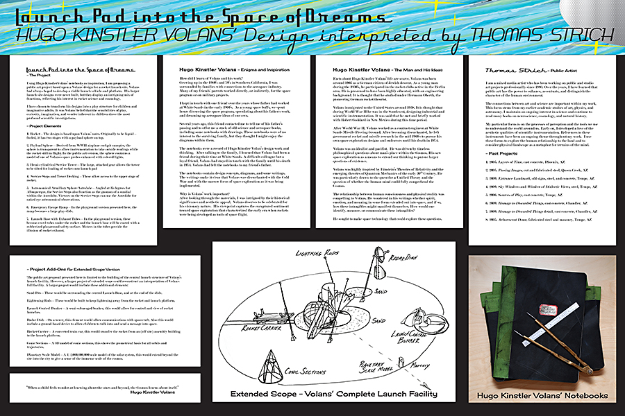 Project Images and Descriptions explaining plans to recreate the speculative launch site of Hugo Kinstler Volans